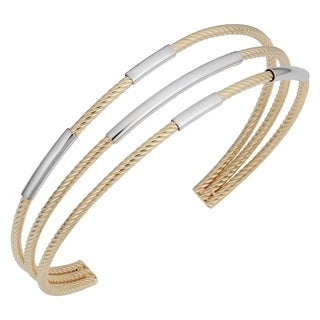 Fremada 14k Two-tone Gold Triple Cuff Bangle Bracelet (7.5 inches)