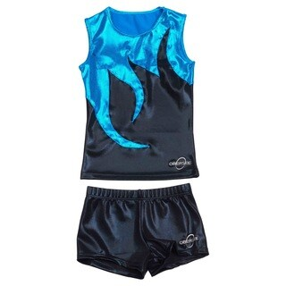 Obersee Cheer Dance Tank and Shorts Set - Black Mist
