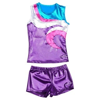 Obersee Cheer Dance Tank and Shorts Set - Swirl Purple