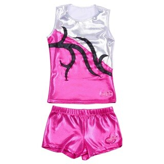 Obersee Cheer Dance Tank and Shorts Set - Carrie Pink