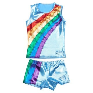 Obersee Cheer Dance Tank and Shorts Set - Rainbow Arc