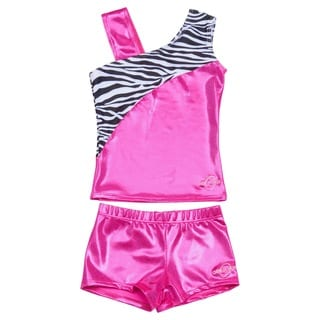 Obersee Cheer Dance Tank and Shorts Set - Pink Zebra