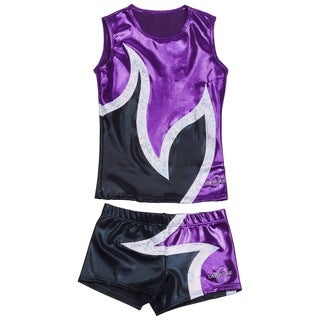 Obersee Cheer Dance Tank and Shorts Set - Anya Black Purple