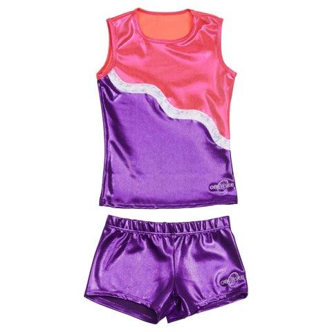 Obersee Cheer Dance Tank and Shorts Set - Purple Ribbon