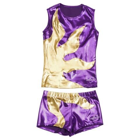 Obersee Cheer Dance Tank and Shorts Set - Purple Sun