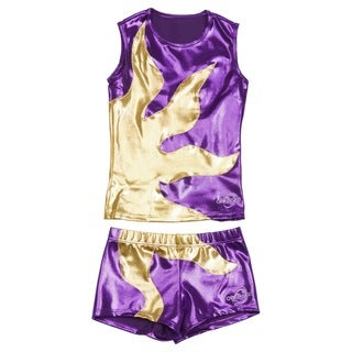 Obersee Cheer Dance Tank and Shorts Set - Purple Sun