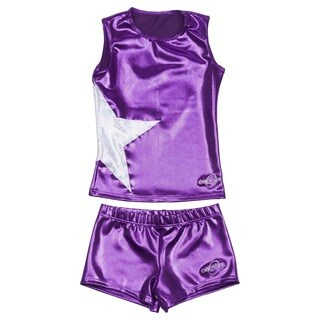 Obersee Cheer Dance Tank and Shorts Set - Purple Star