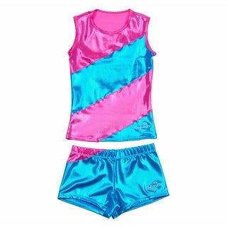 Obersee Cheer Dance Tank and Shorts Set - Pink Diagonal