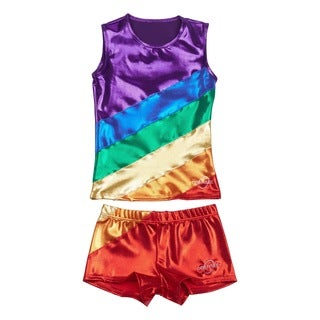 Obersee Cheer Dance Tank and Shorts Set - Rainbow