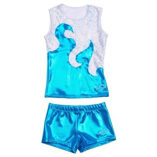 Obersee Cheer Dance Tank and Shorts Set - Turquoise Waves