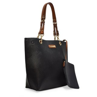 Adrienne Vittadini Pebble Grain PU Fashion Tote Bag with Accessory Pouch