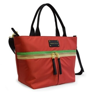 Adrienne Vittadini Nylon Zip Top Tote with Padded Laptop Sleeve-Red