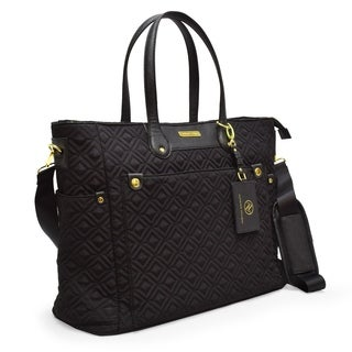 Adrienne Vittadini Quilted Nylon Tote Bag With Padded Laptop Sleeve-Black