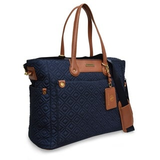 Adrienne Vittadini Quilted Nylon Tote Bag With Padded Laptop Sleeve-Navy