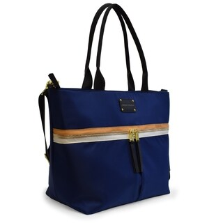 Adrienne Vittadini Nylon Zip Top Tote with Padded Laptop Sleeve-Navy Blue
