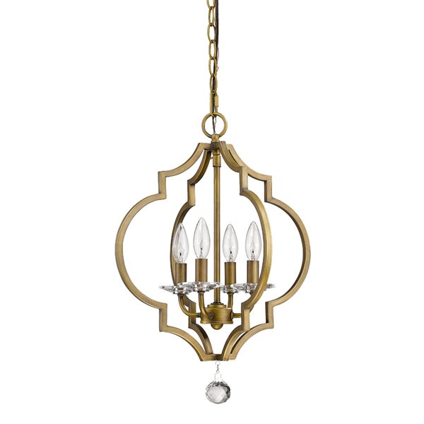 Acclaim Lighting Peyton Indoor 4-Light Chandelier with Crystal Bobeches In Raw Brass