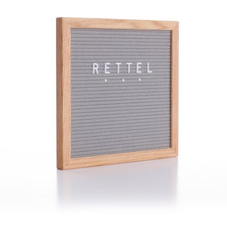 "Rettel Board Small Talk Letter Board 10.5""x10.5"" Oak Frame with Felt Backing and Letters Included (Option: Brown/Grey)"