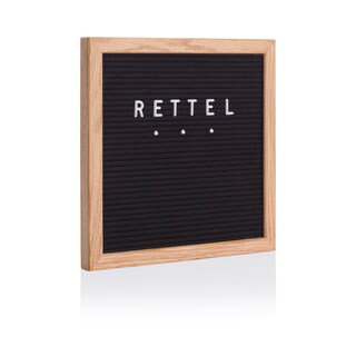 "Rettel Board Small Talk Letter Board 10.5""x10.5"" Oak Frame with Felt Backing and Letters Included (Option: Brown/Black)"