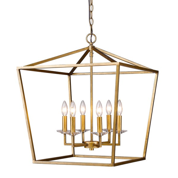 Acclaim Lighting Kennedy Indoor 6-Light Pendant with Crystal Bobeches In Antique Gold