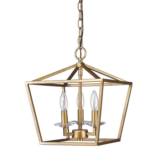 Acclaim Lighting Kennedy Indoor 3-Light Pendant with Crystal Bobeches In Antique Gold