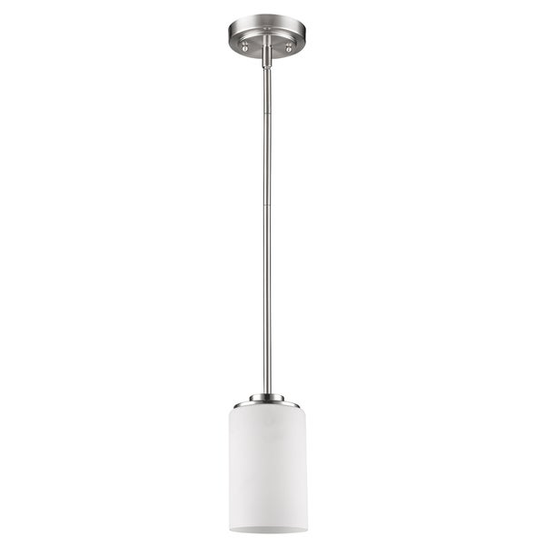 Acclaim Lighting Addison Indoor 1-Light Mini Pendant W/Glass Shade In Satin Nickel - Silver