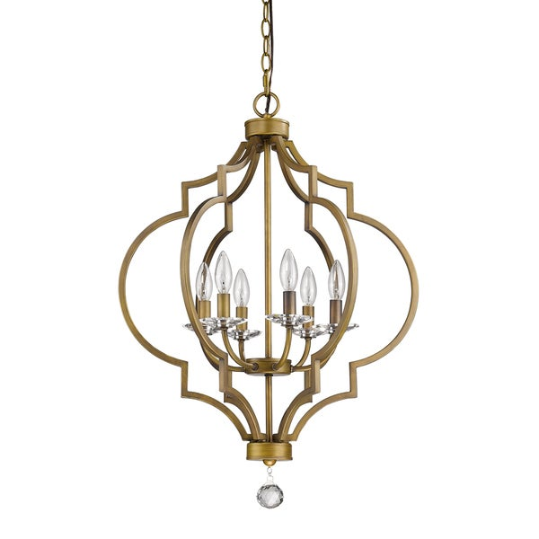 Acclaim Lighting Peyton Indoor 6-Light Chandelier with Crystal Bobeches In Raw Brass
