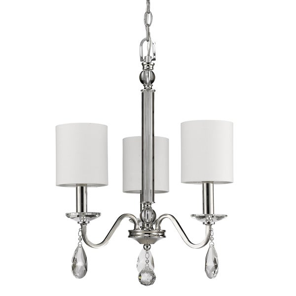 Acclaim Lighting Lily Indoor 3-Light Mini Chandelier with Shades and Crystal Pendants In Polished Nickel