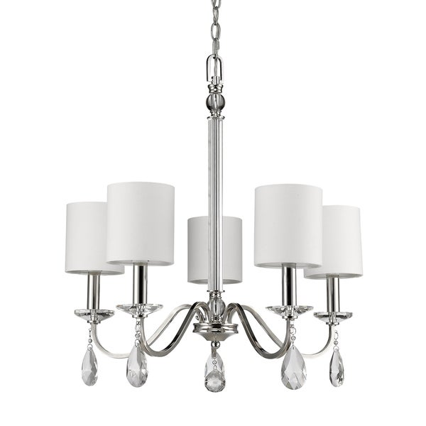 Acclaim Lighting Lily Indoor 5-Light Chandelier with Shades and Crystal Pendants In Polished Nickel - Silver