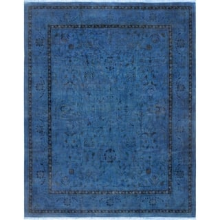 """Pasargad Overdye Hand-Knotted Blue Lamb's Wool Area Rug (12' 5"""" X 15' 5"""") https://ak1.ostkcdn.com/images/products/18026614/P24194404.jpg?impolicy=medium"""