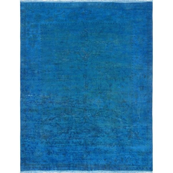 "Pasargad Overdye Blue Lamb's Wool Area Rug (9' 2"" X 11'10"")"
