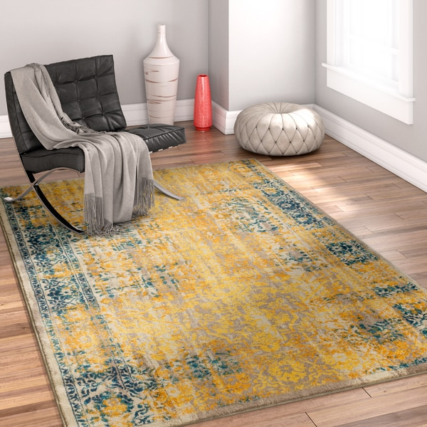 Well Woven Bohemian Modern Yellow Area Rug - 7'10 x 9'10
