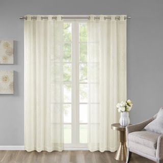 Madison Park Ethel Embroidered Sheer Window Curtain Panel