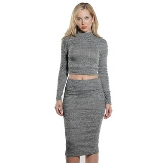 Ladies Rib Mock Neck Crop and Skirt Set By Special One