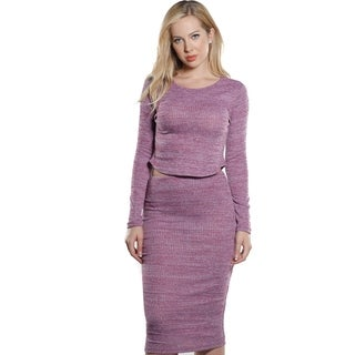 Ladies Rib Round Neck Crop and Skirt Set By Special One