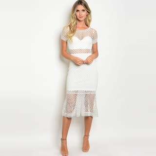 Shop The Trends Women's Short Sleeve Mermaid Cut Midi Dress With Allover Sheer Crochet Design|https://ak1.ostkcdn.com/images/products/18026713/P24194483.jpg?impolicy=medium