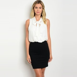 Shop The Trends Women's Sleeveless Short Dress With Chiffon Top And A Neck Tie