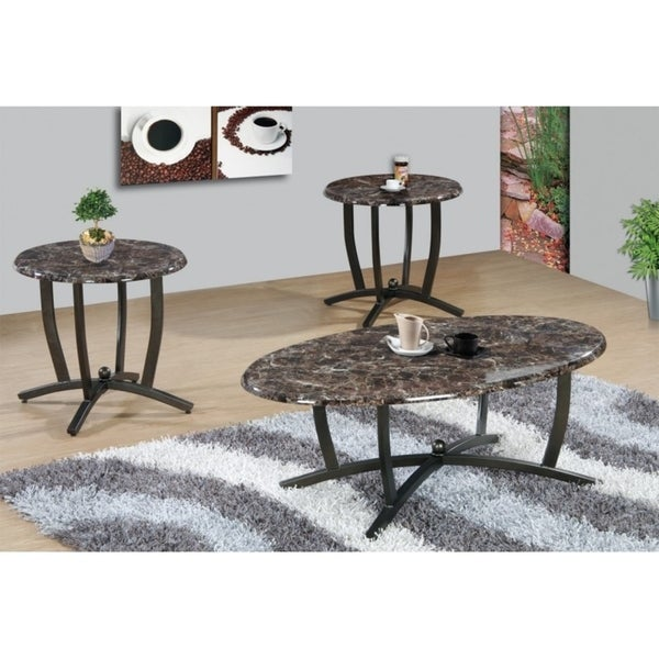 Shop Best Quality Furniture 3-piece Brown Faux Marble Round Coffee ...