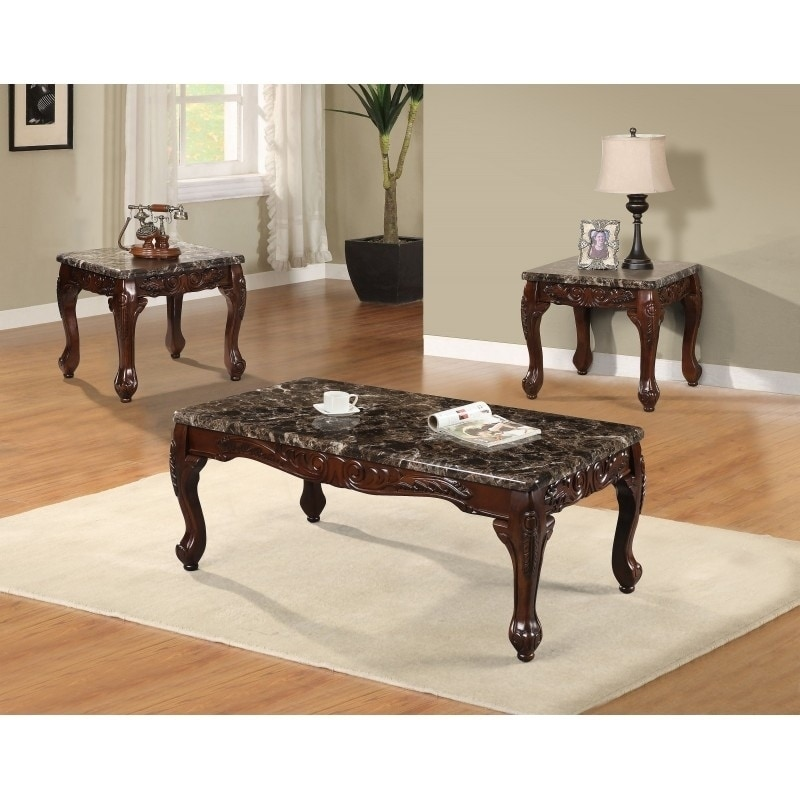 Best Quality Furniture 3-piece Faux Marble Cherry Coffee ...