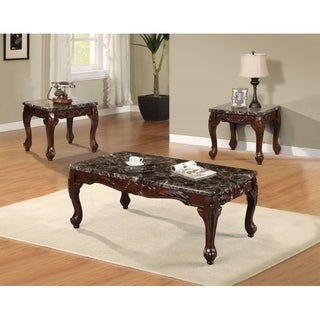 Best Quality Furniture 3-piece Faux Marble Cherry Coffee and End Table Set