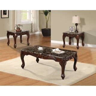 Best Quality Furniture 3-piece Faux Marble Cherry Coffee and End Table Set  sc 1 st  Overstock.com & Table Sets Coffee Console Sofa \u0026 End Tables For Less | Overstock.com