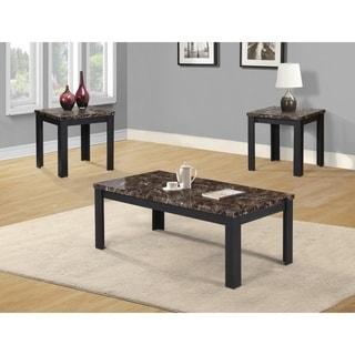 Best Quality Furniture 3-piece Dark Brown Faux Marble Coffee and End Table Set