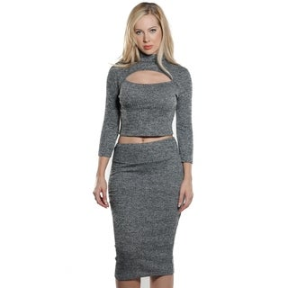 Ladies Rib KeyHole Neck Crop and Skirt Set By Special One
