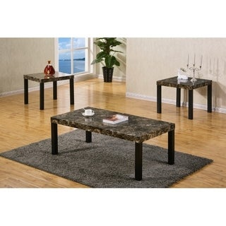 Best Quality Furniture 3-piece Light Brown Faux Marble Coffee and End Table Set