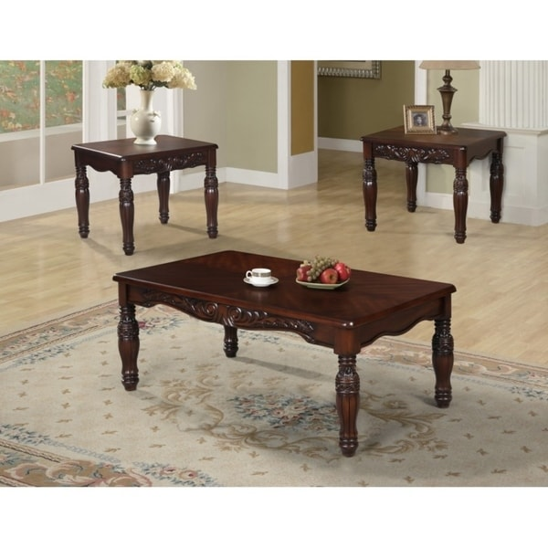 Best Quality Furniture 3-piece Traditional Cherry Coffee and End Table Set  sc 1 st  Overstock : cherry coffee table set - pezcame.com