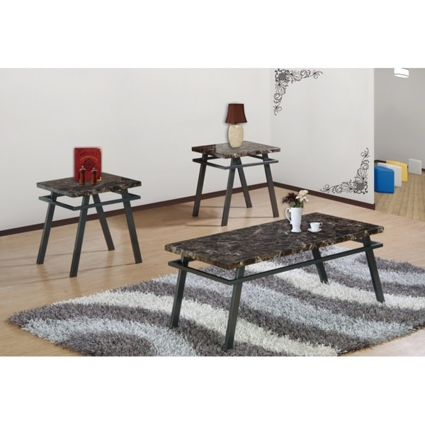 Shop Best Quality Furniture 3-piece Dark Brown Faux Marble