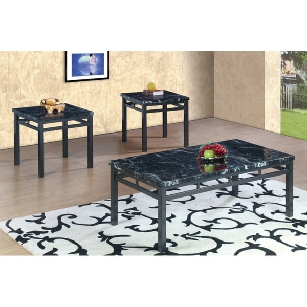 Best Quality Furniture 3 Piece Black Faux Marble Coffee And End Table Set