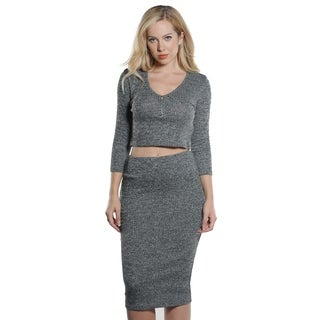 Ladies Rib Scoop Neck Zip Front Crop and Skirt Set By Special One