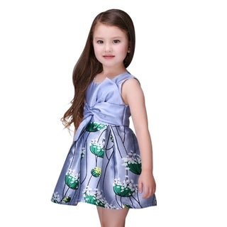 Casual Fluffy Floral Toddlers Preschoolers Girls Purple Dress (3 options available)