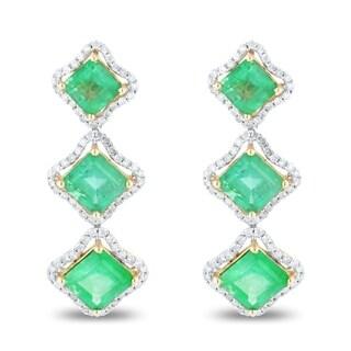 Auriya 14k Yellow Gold 6 1/3ct Emerald and 1 3/4ct TDW Diamond Earrings - White