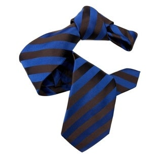 Dmitry Men's Blue/Brown Striped Italian Silk Tie